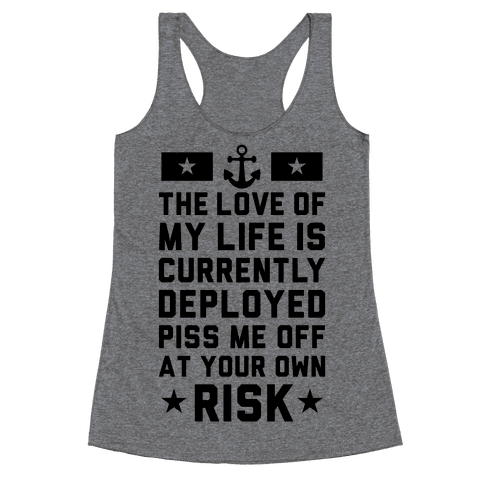 Piss Me Off At Your Own Risk (Navy) Racerback Tank Top