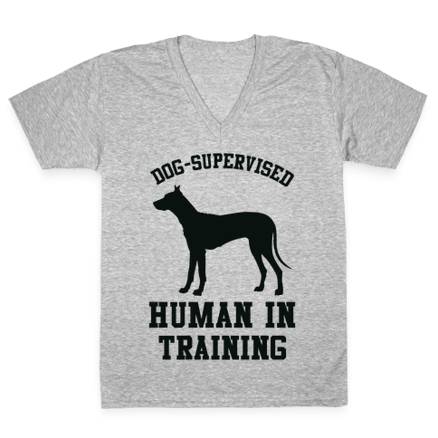 Dog Supervised Human in Training V-Neck Tee Shirt