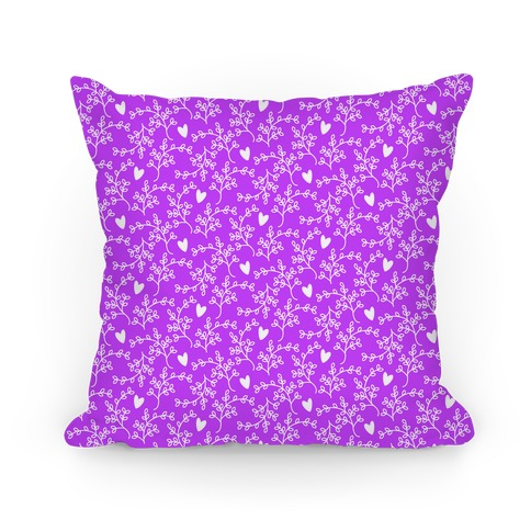 Purple Floral Hearts Pattern Pillow