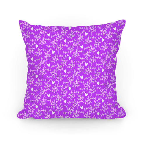 Purple Floral Hearts Pattern Pillow