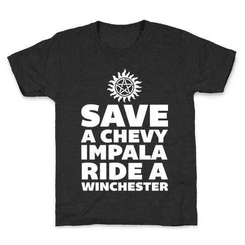 Save a Chevy Impala, Ride a Winchester Kids T-Shirt