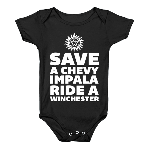 Save a Chevy Impala, Ride a Winchester Baby Onesy