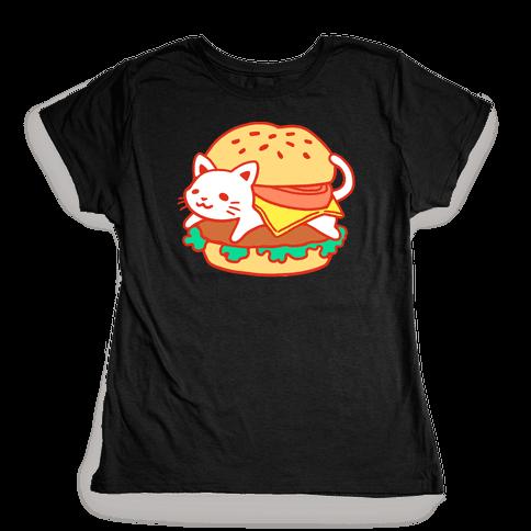 Burger Cat (No Text) Womens T-Shirt