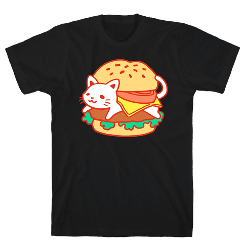 Burger Cat (No Text) Mens T-Shirt