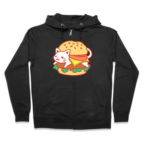 Burger Cat (No Text) Zip Hoodie