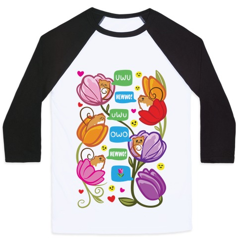 Harvest Mice Emoji Floral Pattern Baseball Tee