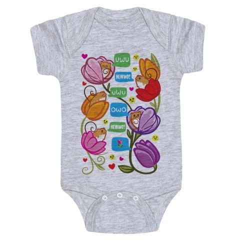 Harvest Mice Emoji Floral Pattern Baby Onesy