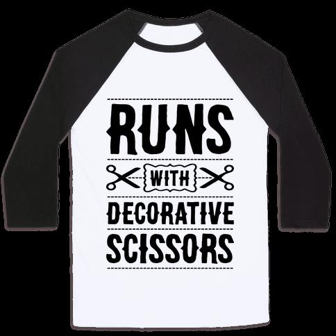 Runs With Decorative Scissors Baseball Tee