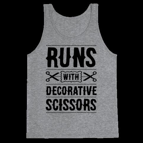 Runs With Decorative Scissors Tank Top