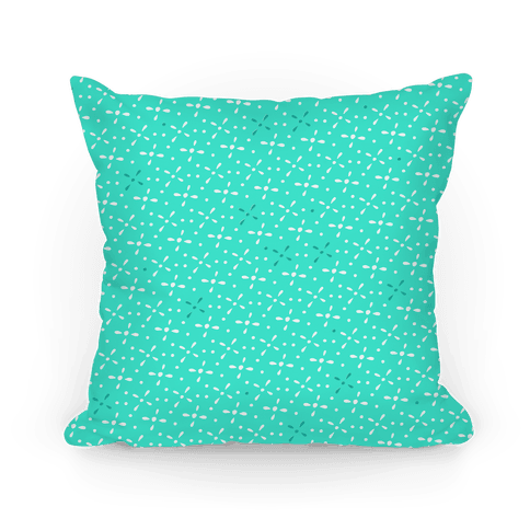 Aqua Abstract Floral Pattern Pillow
