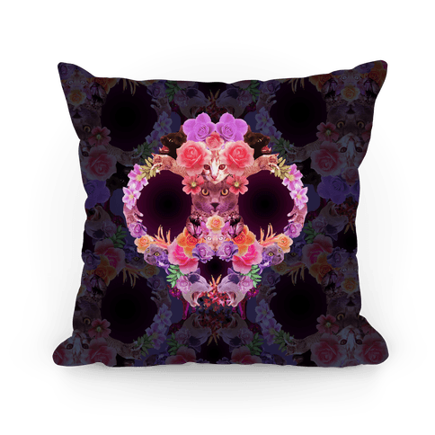 Floral Cat Skull Collage Pillow