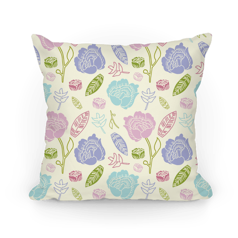 Floral and Leaves Pattern Pillow