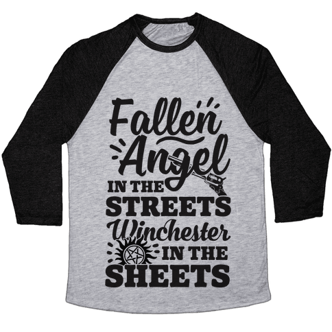 Fallen Angel In The Streets Winchester In The Sheets Baseball Tee