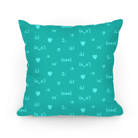 Emoji Teal Pattern Pillow