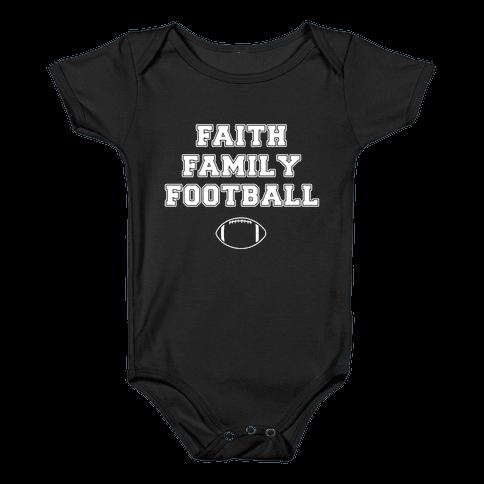 Faith, Family, Football Baby Onesy