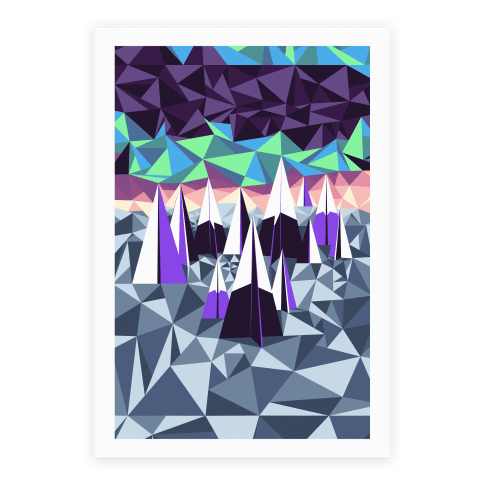 Geometric Winter Mountains and the Northern Lights Poster