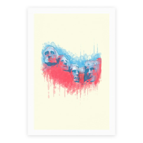 Watercolor Rushmore Poster