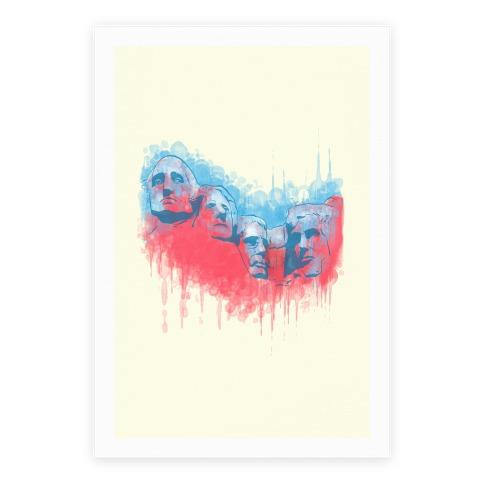 Watercolor Rushmore Poster