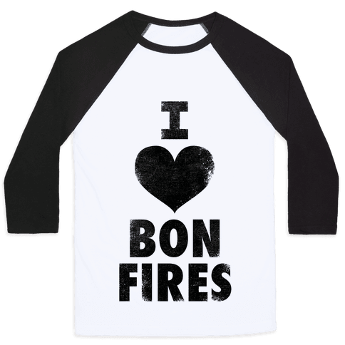 I Heart Bonfires Baseball Tee