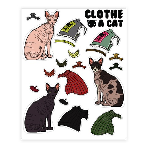 Hairless Cat Dress Up Sticker/Decal Sheet