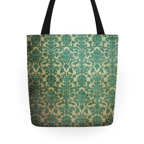 Vintage Damask Wallpaper Pattern Tote
