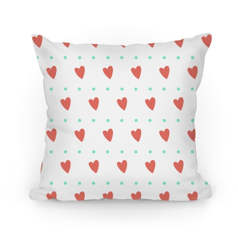 Coral and Mint Hearts and Dots Pattern Pillow