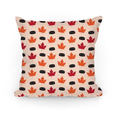 Hockey Pucks and Fall Leaves Pattern Pillow