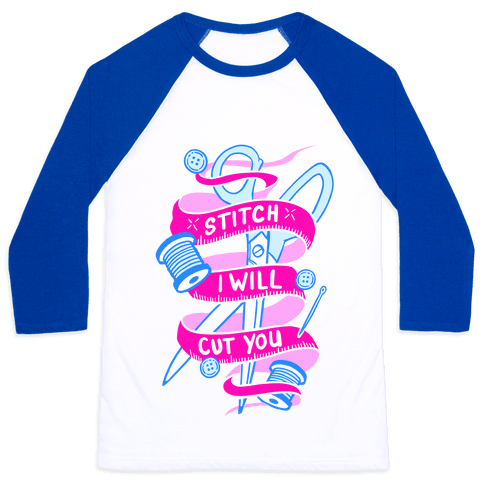 Stitch I Will Cut You Baseball Tee