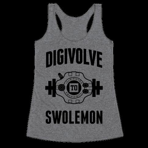 Digivolve to Swolemon! Racerback Tank Top