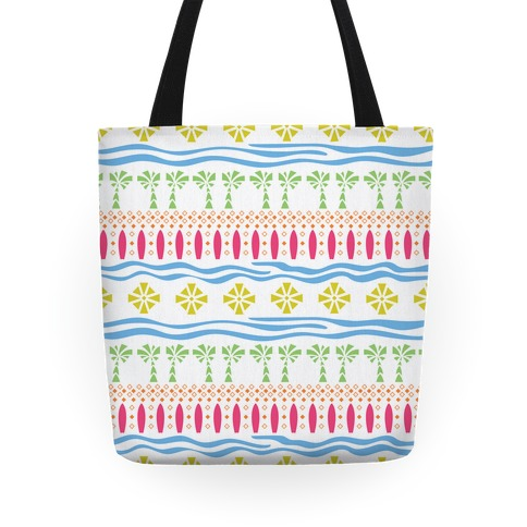 Tropical Beach Surf Pattern Tote