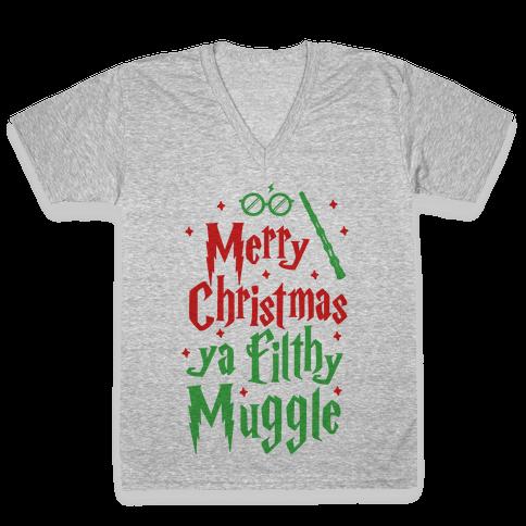 Merry Christmas Ya Filthy Muggle V-Neck Tee Shirt