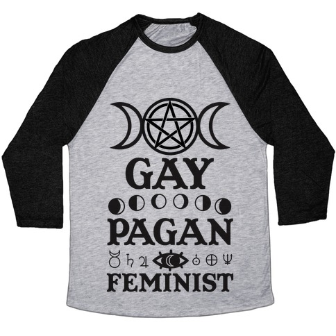 Gay Pagan Feminist Baseball Tee