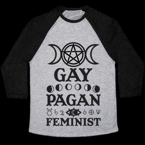 Gay Pagan Feminist Baseball Tee