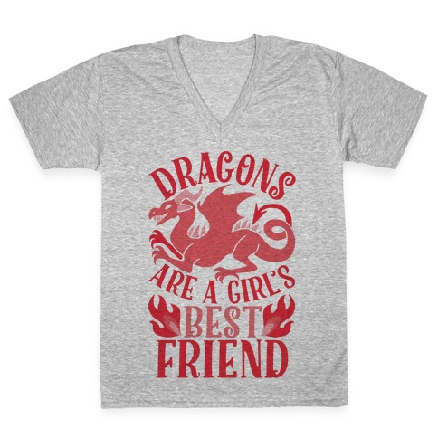 e6eda1e55 Dragons Are A Girl's Best Friend V-Neck Tee   LookHUMAN