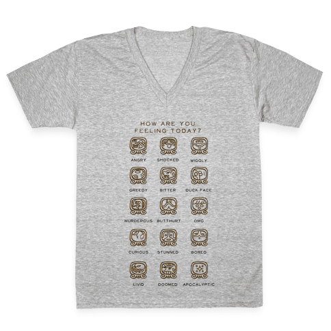 Mayan Mood Chart V-Neck Tee Shirt