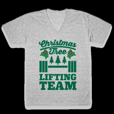 Christmas Tree Lifting Team V-Neck Tee Shirt
