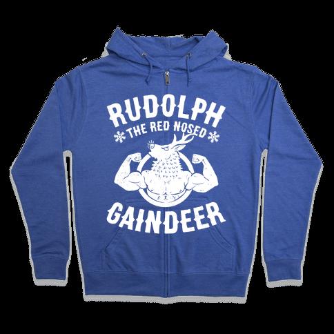 Rudolph The Red Nosed Gaindeer Zip Hoodie