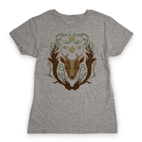 Floral Deer Womens T-Shirt