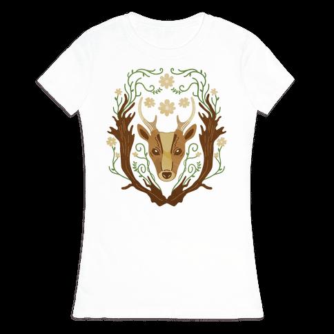 Floral Deer Womens T-Shirt