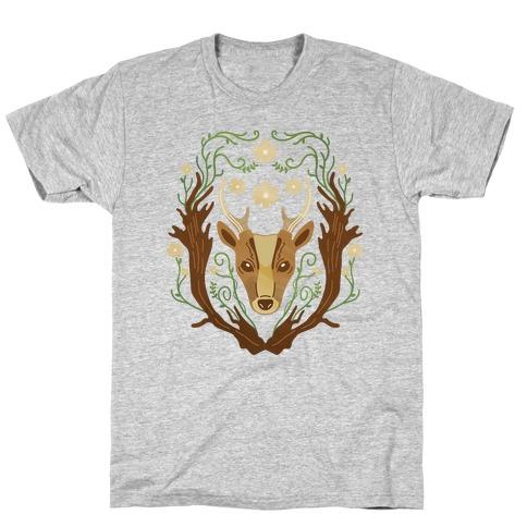 Floral Deer Mens/Unisex T-Shirt