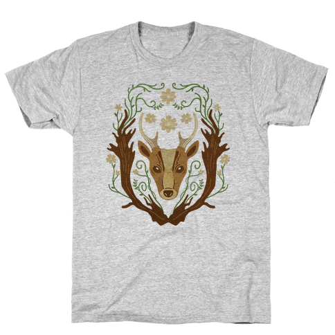 Floral Deer Mens T-Shirt