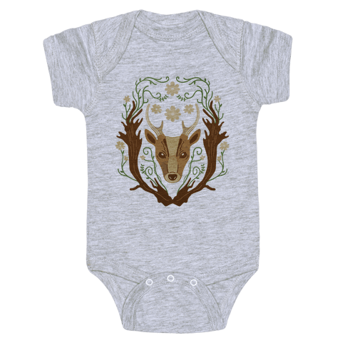 Floral Deer Baby Onesy