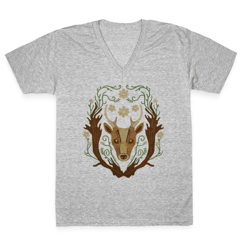 Floral Deer V-Neck Tee Shirt