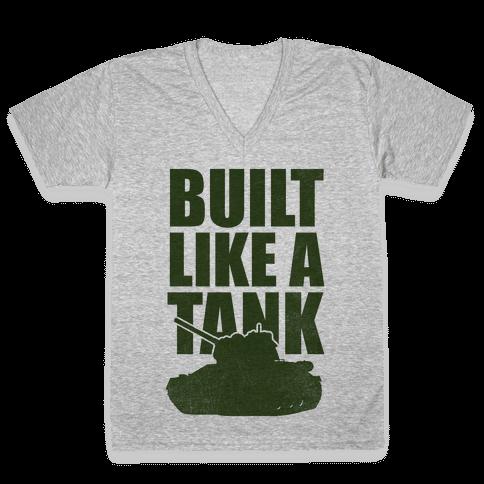 Built Like A Tank (Green) V-Neck Tee Shirt