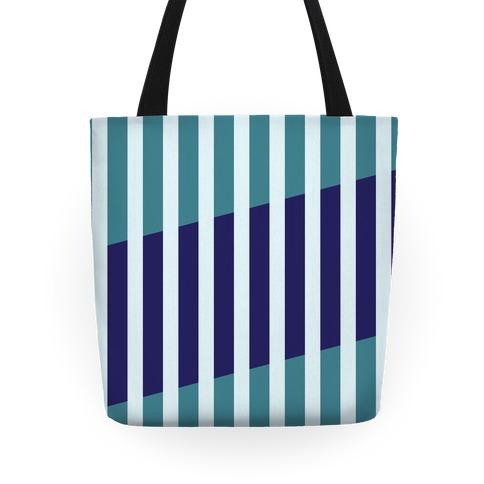Cut Stripes Pattern Tote (Blue) Tote