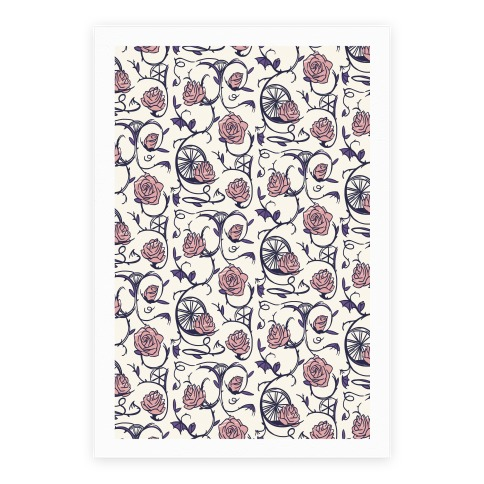 Sleeping Beauty Briar Rose Floral Pattern Poster