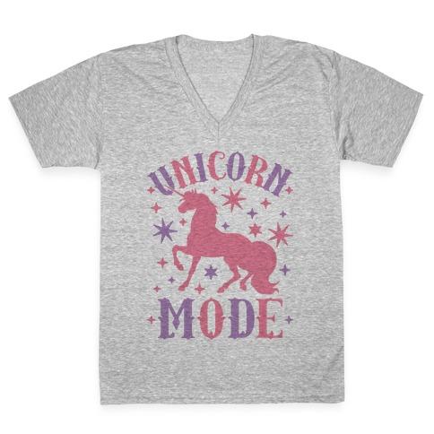 Unicorn Mode V-Neck Tee Shirt