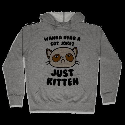 Wanna Hear A Cat Joke? Just Kitten Hooded Sweatshirt