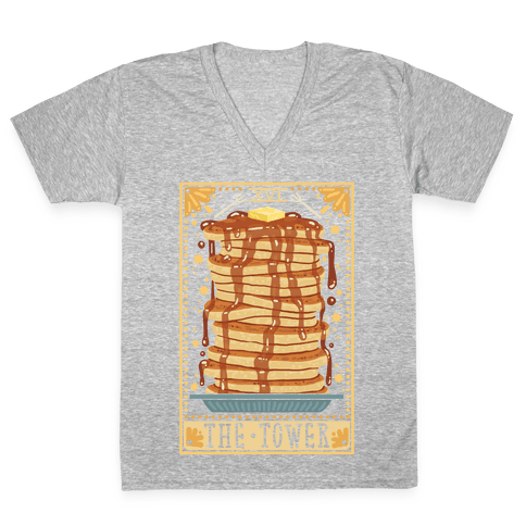 Tarot Card: The Tower (Of Pancakes) V-Neck Tee Shirt