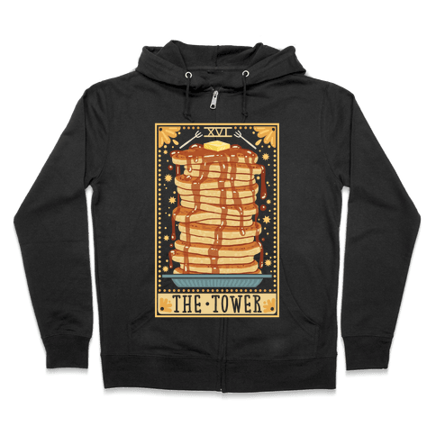 Tarot Card: The Tower (Of Pancakes) Zip Hoodie
